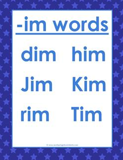 im Words, -im Word Family - CVC Words List | A Wellspring
