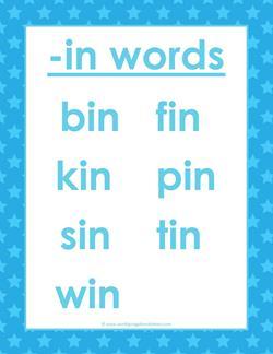 cvc words list -in words - in word family - kindergarten phonics, cvc words