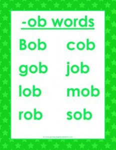 cvc words list -ob words