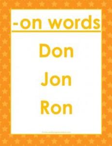 cvc words list -on words