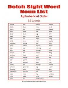 dolch nouns list - alphabetical order