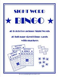 dolch sight word bingo - pre-primer