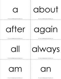 dolch sight word flash cards - complete set - black and white