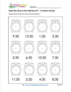 Draw the Time to the Half Hour #1 - 12 Alarm Clocks