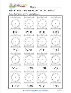 Draw the Time to the Half Hour #1 - 16 Table Clocks