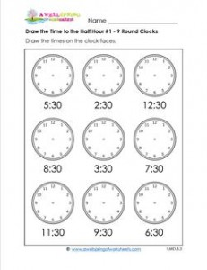 Draw the Time to the Half Hour #1 - 9 Round Clocks