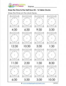 Draw the Time to the Half Hour #2 - 16 Table Clocks