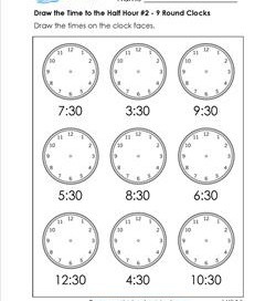Draw the Time to the Half Hour #2 - 9 Round Clocks