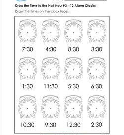 Draw the Time to the Half Hour #3 - 12 Alarm Clocks