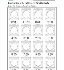Draw the Time to the Half Hour #3 - 16 Table Clocks