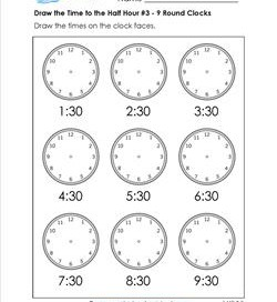 Draw the Time to the Half Hour #3 - 9 Round Clocks