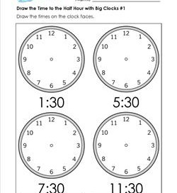Draw the Time to the Half Hour #1 - Clock Worksheets with 4 Large Clocks