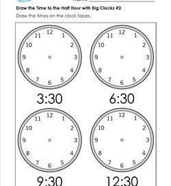 Draw the Time to the Half Hour #2 - Clock Worksheets with 4 Large Clocks