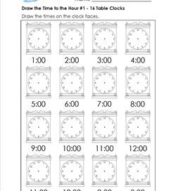 Draw the Time to the Hour #1 - 16 Square Clocks