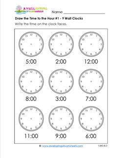 Draw the Time to the Hour #1 - 9 Wall Clocks
