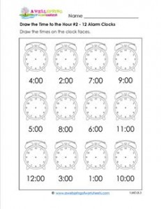 Draw the Time to the Hour #2 - 12 Alarm Clocks
