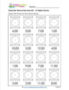 Draw the Time to the Hour #2 - 16 Square Clocks