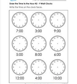 Draw the Time to the Hour #2 - 9 wall Clocks