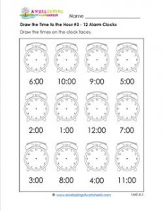 Draw the Time to the Hour #3 - 12 Alarm Clocks