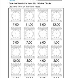 Draw the Time to the Hour #3 - 16 Square Clocks