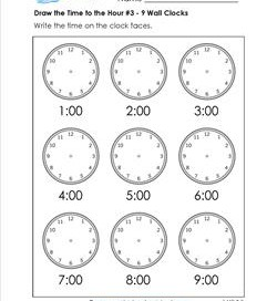 Draw the Time to the Hour #3 - 9 Wall Clocks