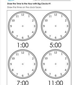 Draw the Time to the Hour #1 - Clock Worksheets with 4 Large Clocks