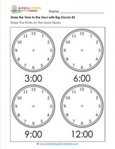 Draw the Time to the Hour #2 - Clock Worksheets with 4 Large Clocks