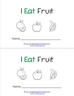 Emergent Reader - I Eat Fruit - Sight Word Book