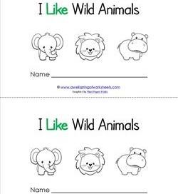 Emergent Reader - I Like Wild Animals - Sight Word Book