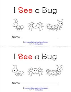 Emergent Reader - I See a Bug - Sight Word Book