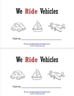 Emergent Reader - We Ride Vehicles - Sight Word Book