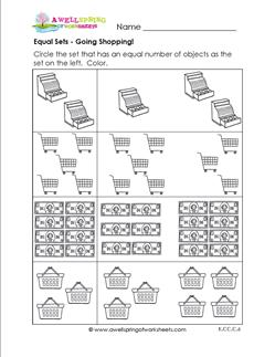 Equal Sets - Going Shopping - Comparison Worksheets