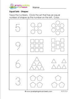 Equal Sets - Shapes - Comparison Worksheeets