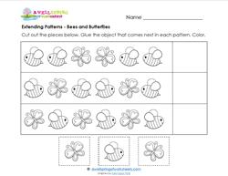 Extending Patterns - Bees and Butterflies - Patterns Worksheets