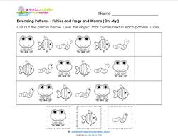 Extending Patterns - Fishies, Frogs, and Worms - Patterns Worksheets