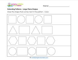 Extending Patterns - Large Plane Shapes - Patterns Worksheets