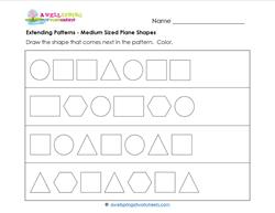 Extending Patterns - Medium Sized Plane Shapes - Patterns Worksheets