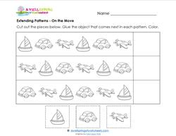 Extending Patterns - On the Move - Patterns Worksheets