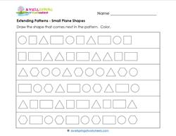 Extending Patterns - Small Plane Shapes - Patterns Worksheets