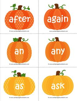 fall dolch sight word flashcards first grade