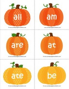 fall dolch sight word flashcards primer