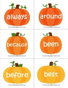 fall dolch sight word flashcards second grade