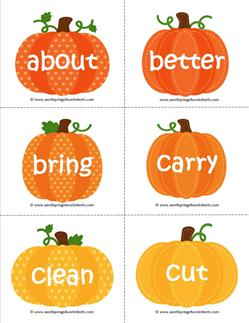 fall dolch sight word flashcards third grade