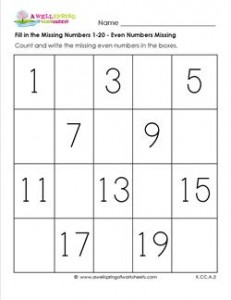Fill in the missing number 1-20 - even numbers missing