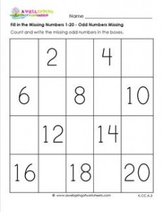 fill in the missing number 1-20 - odd numbers missing