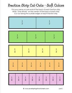fraction strip cut outs soft colors