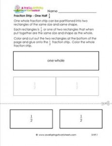fraction strip one half