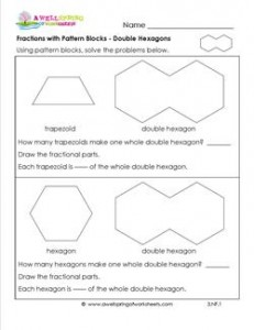 fractions with pattern blocks double hexagons