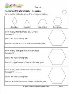 Printables Pattern Block Worksheets fractions with pattern blocks hexagons third grade hexagons