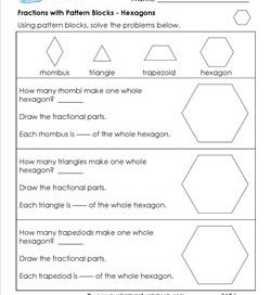 math worksheet : third grade fractions  circle fractions  fraction strips : Pattern Block Fractions Worksheet